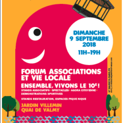 Forum des association Paris 10ème 2018 Affiche